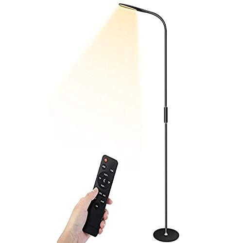 Stehlampe LED Dimmbar mit Fernbedienung 9W Leselampe LED Stehleuchte,Flexibler Schwanenhals,5 Helligkeitsstufen,5 Farbtemperaturen,Augenschutz Stehlampe für Wohnzimmer, Schlafzimmer und Büro-Schwarz