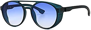Sunglasses Fashion Accessories Steam Punk Style Personality Round Frame Sunglasses UV Protection Lens (Color : Blue)