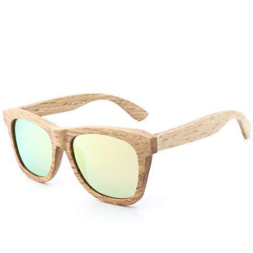 ZJN-JN - Gafas de sol para hombre y mujer, estilo retro, de madera de bambú, polarizadas, para hombres y mujeres, estilo vintage, con brazos de bambú real (color: verde, tamaño: libre) (color: oro)