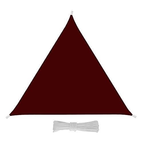 Bricok Tenda da Sole Triangolare da Esterno, Protezione dai Raggi UV, Resistente e Anti-Strappo, Tessuto in Polietilene, (5 x 5 x 5 m, Amaranto)