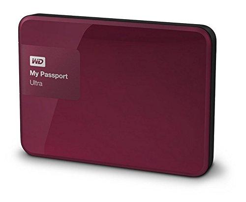 Western Digital My Passport Ultra 2 TB Externe Festplatte (bis zu 5 Gb/s, USB 3.0) wildkirsche