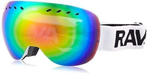 RAVS by Alpland skibril snoowboardbril - Frameloos speciaal design - glas 100% rood lasergoudkleurig verspiegeld!Helmcompatible antifog sproeierbaar dubbele schijf incl. softbag