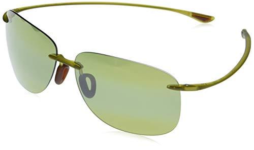 Maui Jim Hikina w/ Patented PolarizedPlus2 Lenses Polarized Rimless Sunglasses, Olive Matte/Maui Ht Polarized, Large