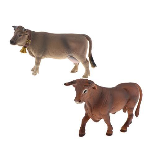 #N/A 2Pcs Wildlife Cattle Tiermodell Figuren Bildungs Requisiten Tischdekoration
