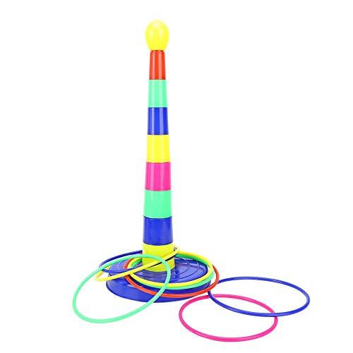 Ring Toss Game, Niños Niños Colorido Ring Throwing Toss 1 Set Pilares + 8 Sets Anillos Ringtoss Toys Set de Juegos Fiesta de cumpleaños Juguetes interactivos al Aire Libre para Interiores(Juguete)