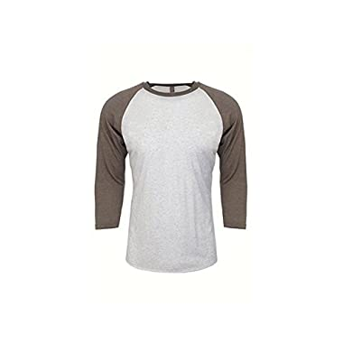 Next Level Apparel 6051 Unisex Tri-Blend 3 By 4 Sleeve Raglan - Venetian Gray & Heather White44; Small