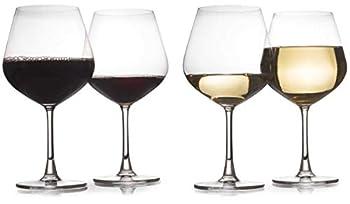 Set of 4 - Modern Laser Cut Rim 24 Oz Wine Glasses Made of Crystal With Seamless Joints  Short Stem