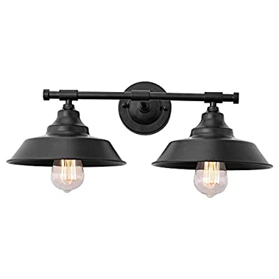 KOSTOMO Farmhouse Vanity Wall Sconce 2-Lights Rustic Style Vintage Lighting E26 Base Metal Matte Black Industrial Bathroom Wall Light Fixture for Mirror Cabinets Dressing Table
