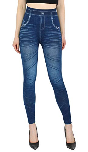dy_mode High Waist Leggings Damen Hose Jeggings in Jeans Optik ideal für Frühjahr Sommer - OneSize Gr.36-42 - JL078 (JL078-OneSize...