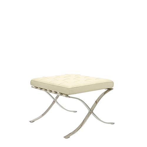 Popfurniture Barcelona Chair Ottoman Premium Fußbank - Hocker aus 100% Anilinleder | 61 x 54 x 45 cm | Créme