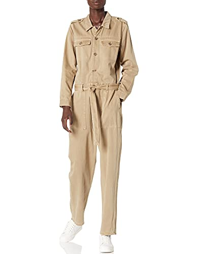 Lucky Brand Women's Long Sleeve Out of Town Boiler Jumpsuit, Soft Khaki, Large