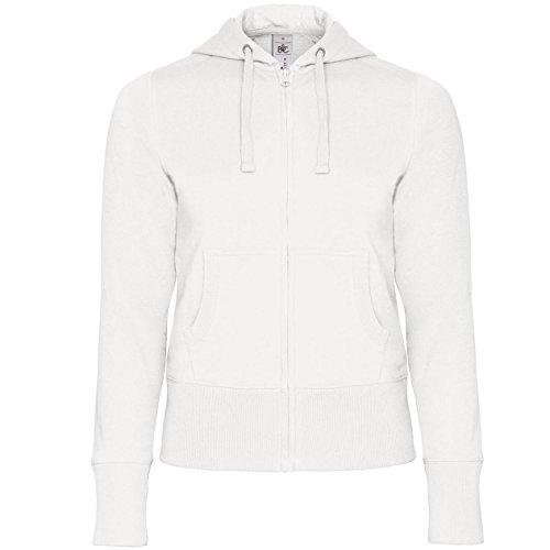 B&C - Sweatshirt à Capuche et Fermeture zippée - Femme (S - FR 38) (Blanc)