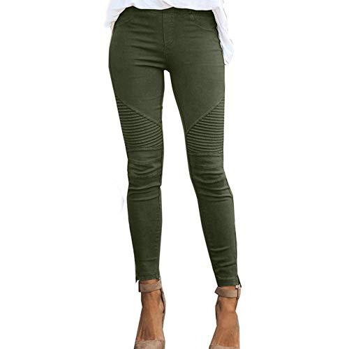 Pantalones elásticos de Color sólido Ajustados Casuales de Moda de o
