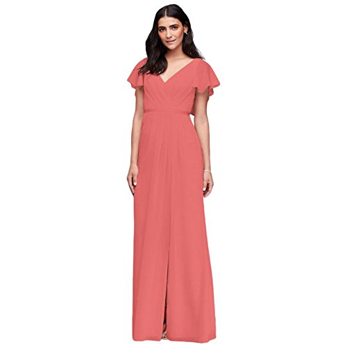 Flutter Sleeve Crinkle Chiffon Bridesmaid Dress Style W11446, Coral Reef, 0
