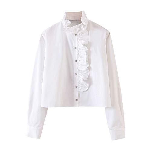 Top de Camisa de algodón Exterior de Manga Larga Blanca con Volantes Mujer