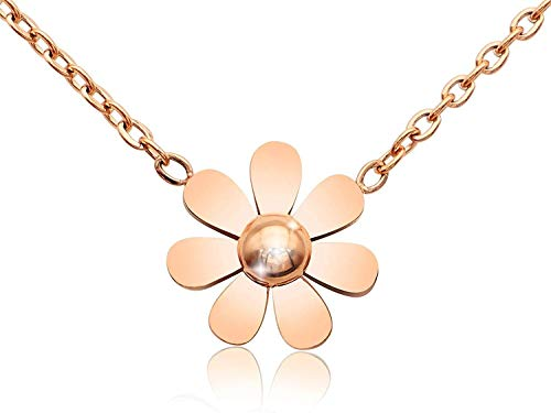 necklace Gioielli in agata Chic Girls Series - 18K gold-plated titanium steel pendant ring adjustable girlfriend female, color collar simple style: Cat's Eye agata (Color : Flower Rose Gold Color)