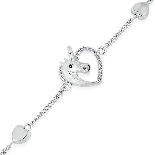 SataanReaper Presents Heart Love Innocent Unicorn Bracelet with Crystal Stones for Girls and Women SR_99