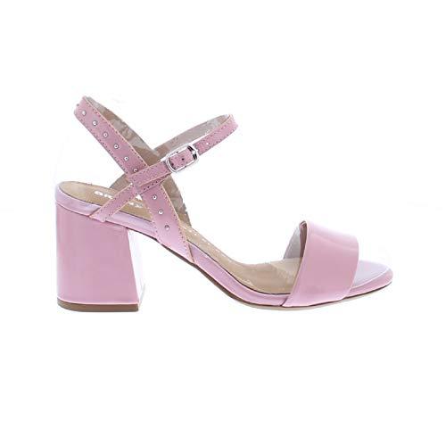 Bronx Sandaletten Jagger 84734-H Lack Leder Riemchen Nieten Sandalen, Größe:39 EU, Farbe:Rosa