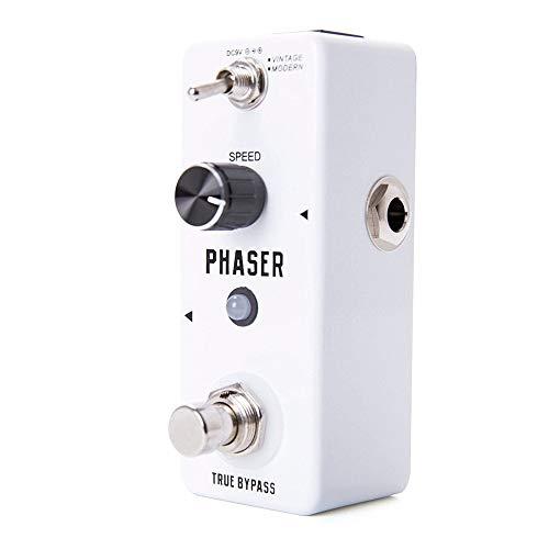 BGROEST Gitarren- / Bass-Effekt-Pedal Digitales Gitarren-Modulations-Effektpedal Phaser E-Gitarren-Effektpedal mit 2 Modi (Farbe : Weiß, Größe : Free Size)