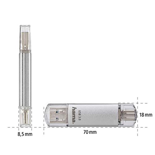Hama 256GB USB-Speicherstick mit USB 3.0&USB 3.1-Type-C (2-in-1 USB-Stick, z.B. für Android Handy, Tablet, Computer, Notebook, MacBook, OTG, 70MB/s) USB-Typ-C Handy-Stick, Doppel Memory-Stick silber