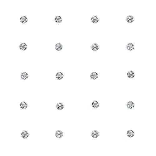 TOC Austrian Crystal Sterling Silver 20 Piece Nose Stud Set