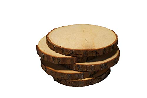 5 Pack Round Rustic Woods Slices with Cracks, 9'-12', Unfinished Wood, Great for Weddings Centerpieces, Crafts