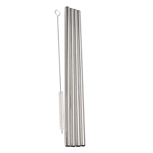 Ultra® Pack de 50 pajillas de acero inoxidable y 5 cepillos 6 mm espesor recto reutilizable lavable no tóxica acero inoxidable pajas de beber incluyendo limpieza cepillos de limpieza (50)