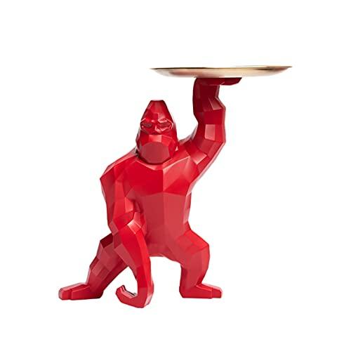 King Kong Gorilla Bandeja De Almacenamiento De Decoración Soporte De Joyería Decoración De Animales Resina Tazón De Llaves Bandeja De Almacenamiento De Baratijas Pequeña Decoración,Rojo