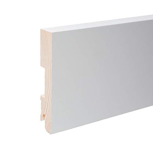 Plinthe en bois véritable carré 100 x 20 x 2.400 mm opaque blanc laqué