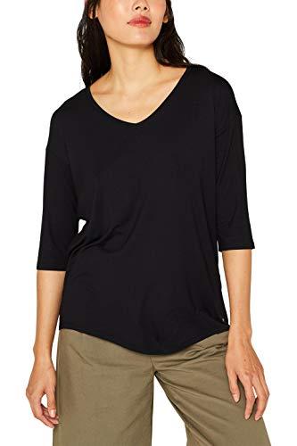 ESPRIT Damen 999Ee1K812 Langarmshirt, Schwarz (Black 001), Medium (Herstellergröße: M)
