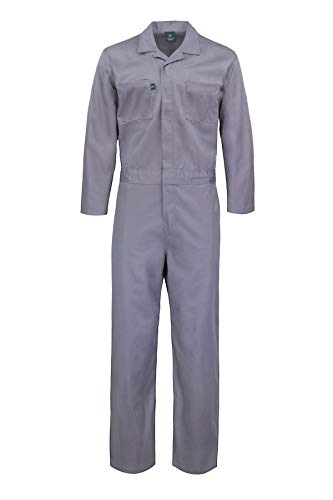 Kolossus Deluxe Long Sleeve Cotton Blend Coverall with Multi Pockets and Antistatic Zipper Gray