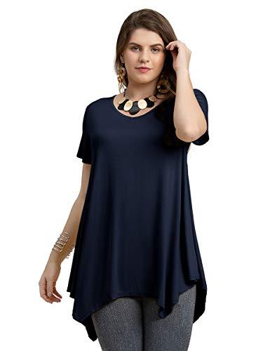 LARACE Women Casual T Shirt V-Neck Tunic Tops for Leggings(3X, Navy Blue)