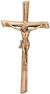 AmazinGrave - Cruces de Pared en Bronce para Cementerio - Crucifijo con Cristo 28x13,5cm - En Bronce, a Pared 2082-28