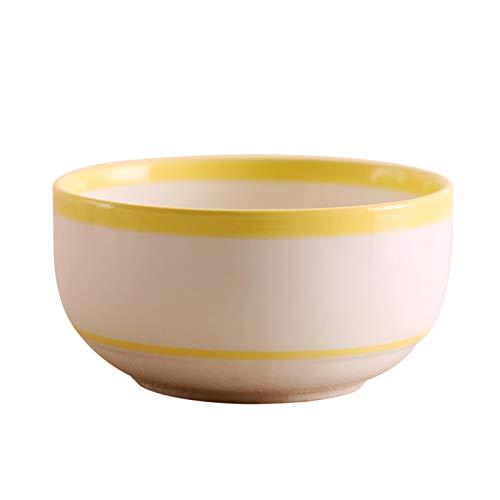 H/A Tazón de cerámica pintada a mano creativa para el hogar y el postre Bowl para sopa del hotel, cuenco de la vajilla, regalo TOM-EU (color: polvo a rayas)