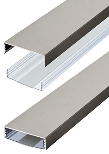 Flacher Design Kabelkanal Edelstahl gebürstet aus Aluminium selbstklebend 50 mm x 15 mm Alunovo Kabelschacht Leitungskanal (Länge: 100cm)