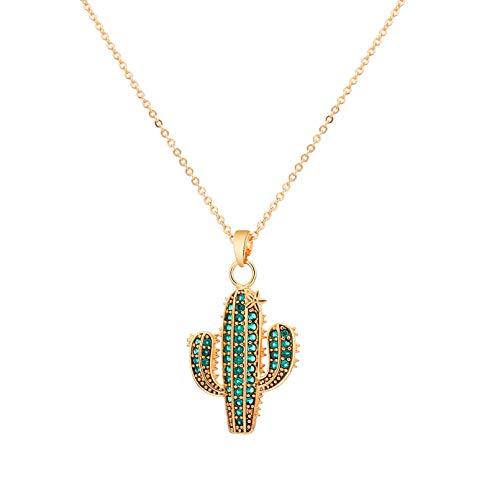 N/A Halskette Anhänger Zirkon Schmuck Kaktus Anhänger Halskette für Frauen Accessoires Gold Splitter Kurzkette Luxus Halsketten Geschenk Weihnachtsgeburtstagsgeschenk