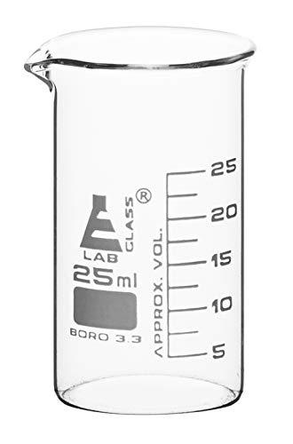 Beaker, 25ml - Tall Form with Spout - White, 2.5ml Graduations - Borosilicate 3.3 Glass - Eisco Labs
