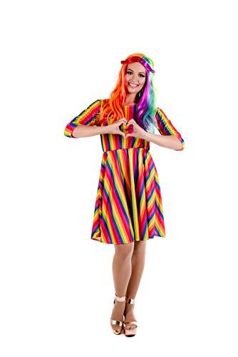 Fun Shack Buntes Regenbogen Kostüm für Damen, Rainbow Kleid - S