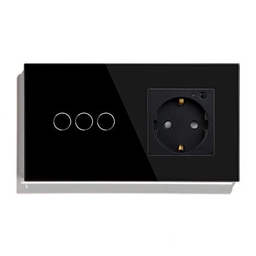 BSEED Interruptor de luz wifi con enchufe,Compatible con Alexa y Google Home,Control de APP y Función de Temporizador,3 Gang 1 Vía WiFi Interruptor de Luz con Enchufe Inteligente Negro