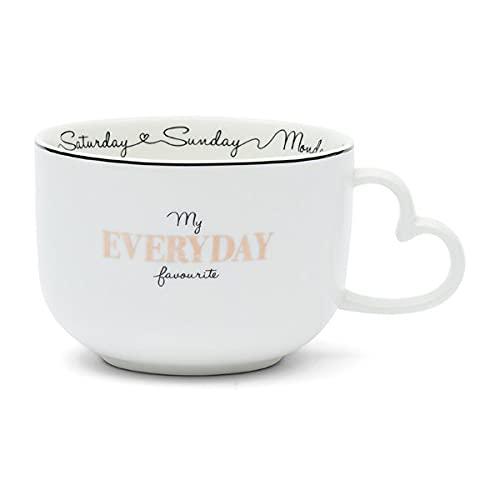 Riviera Maison - Taza para sopa, cereales, taza - My Everyday Favourite - Porcelana - Color blanco - 16 x 8,3 x 11,8 cm
