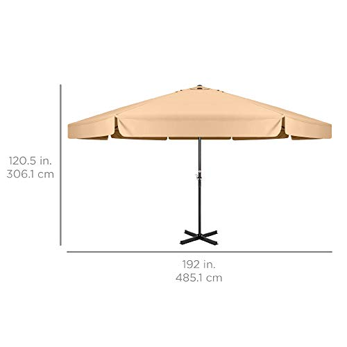 Best Choice Products 16ft Extra Large Outdoor Patio Market Umbrella w/Cross Base, Crank Handle, Air Vent Tan