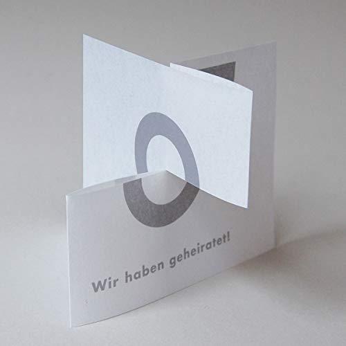 10 Hochzeitskarten: Wir haben geheiratet! Karte zum Auseinanderziehen, aus wolkigem, starkem Transparentpapier, inkl. weißem Umschlag (Prestige) - zum Bedanken nach der Hochzeit (Idee und Gestaltung: Michael Marschall)