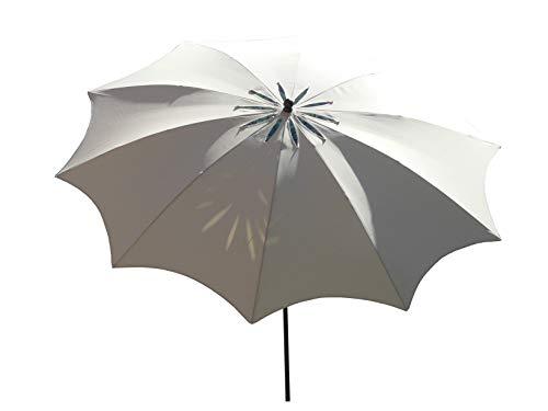 Maffei Art 29 Bea. Parasol de Design, Rond, diamètre cm. 280 avec spécial Coupe-Vent sculpté en Forme de Fleur. Breveté Fabriqué en Italie. Couleur Ecru.