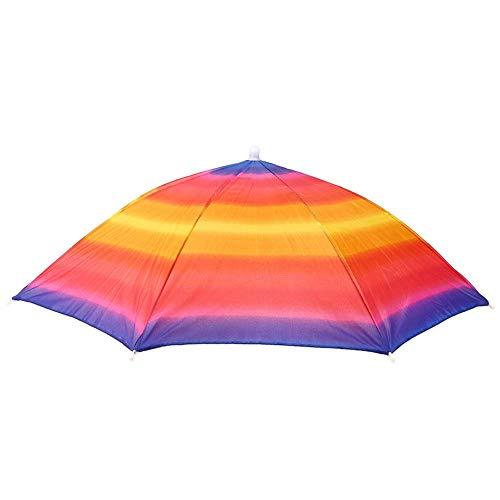 Sombrero de paraguas Dibujos animados Encantador Hermoso Sombreros de fiesta en la playa Cabeza con niños Juguete Paraguas para pesca al aire libre Se adapta a todas las edades, niños, hombres (A)
