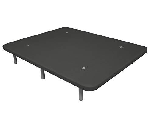 Duérmete Online Base Tapizada 3D Reforzada | Anti Ruido con 5 Barras de Refuerzo | Válvulas de Ventilación | 6 Patas de Altura 30cm, Gris, 105x190