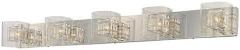 George Kovacs P5805-077, Jewel Box Glass Wall Vanity Lighting, 5 Light Halogen, Chrome