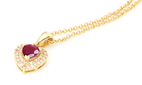 Ah! Jewellery Ladies Genuine Precious 1.45CT RUBY Heart Gemstone Gold Filled Necklace. 16 Inch Chain with 1-2 Inch Extension. UK Guarantee 3µ / 10 years. Stamped GL.