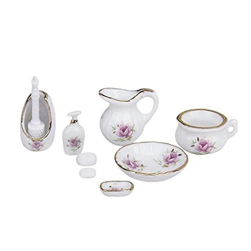 Aiyrchin 01:12 Casa de muñecas en Miniatura de baño Accesorios Patrón Kit dispensador de jabón champú Conjunto Floral Exquisita Porcelana Baño