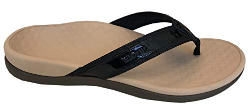 Vionic Women's Tide II Toe Post Sandal - Ladies Flip Flop with Concealed Orthotic Arch Support Black Tan 10 Medium US