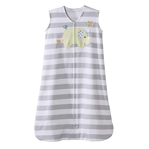 HALO 100% Cotton Sleepsack Wearable Blanket, Elephant Grey Stripe, Medium